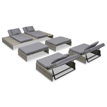 Conjunto de muebles de jardín de ratán sintético gris 15 piezas ...