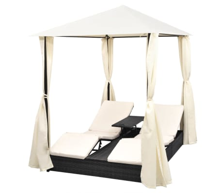 vidaXL Chaise longue double avec rideaux Résine tressée Noir