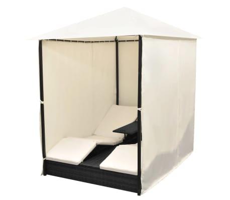 acheter vidaxl lit de repos d 39 ext rieur 2places et rideaux r sine tress e noir pas cher. Black Bedroom Furniture Sets. Home Design Ideas