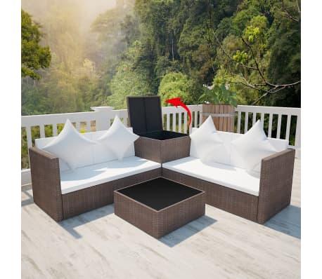 vidaXL Conjunto de muebles de jardín ratán sintético marrón 14 ...