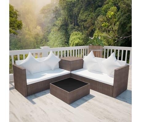 Vidaxl Outdoor Lounge Set Wicker Poly Rattan Brown Garden Furniture