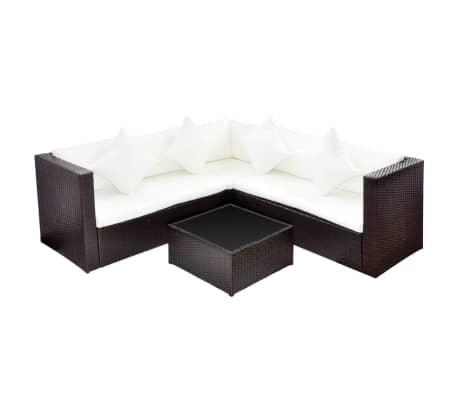 Vidaxl Garden Furniture Set Wicker Poly Rattan Brown Outdoor Sofa
