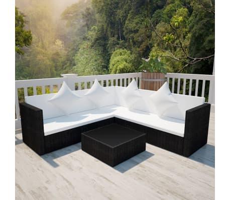 Rattan lounge set  vidaXL Poly Rattan Lounge Set Schwarz Gartenmöbel Sitzgruppe ...