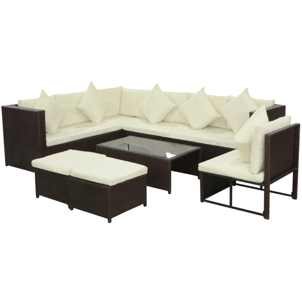 vidaXL 29 Piece Garden Sofa Set Poly Rattan Brown