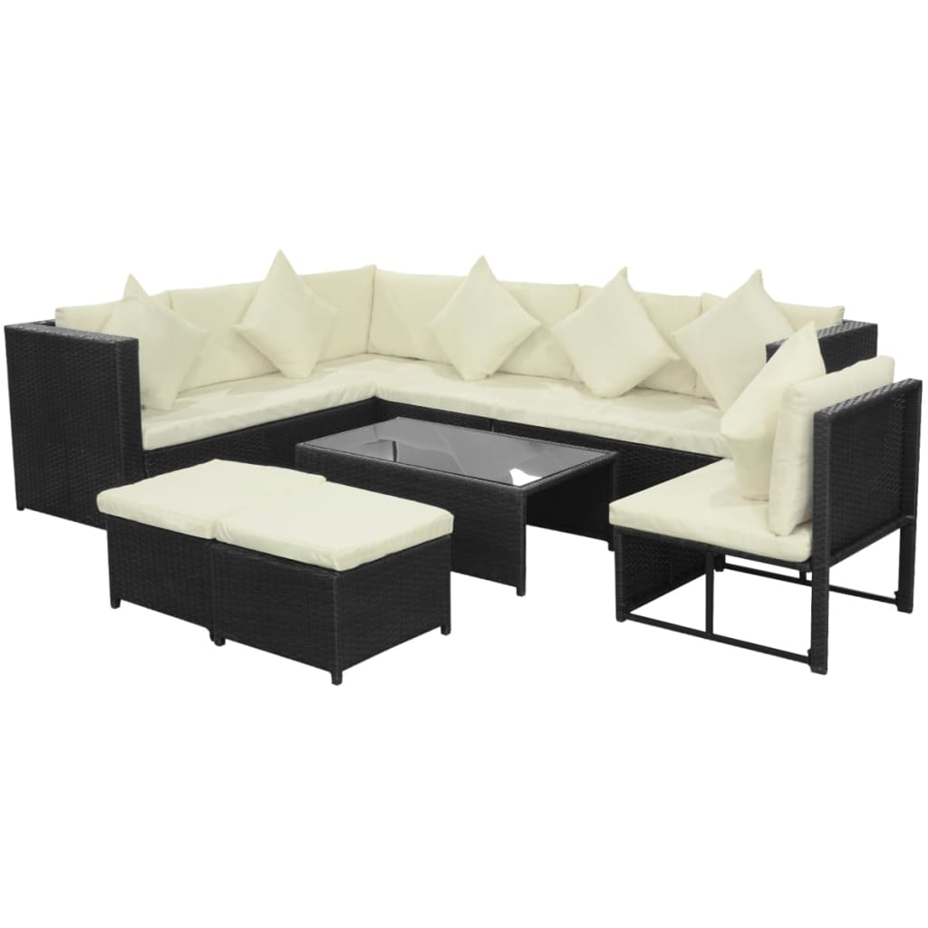 vidaXL 29 Piece Garden Sofa Set Poly Rattan Black