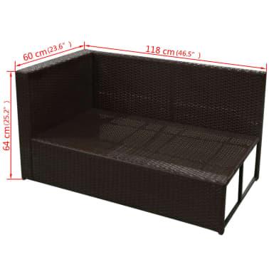 vidaXL 8-daļīgs dārza atpūtas mēbeļu komplekts ar matračiem, PE, brūns[11/13]
