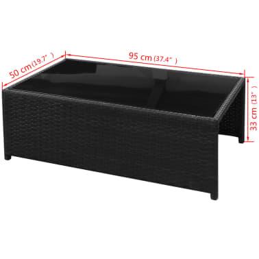 vidaXL 8-daļīgs dārza atpūtas mēbeļu komplekts ar matračiem, PE, melns[13/13]
