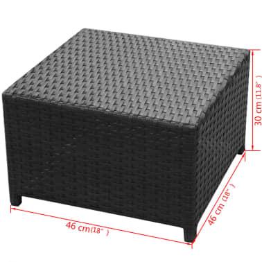vidaXL 8-daļīgs dārza atpūtas mēbeļu komplekts ar matračiem, PE, melns[9/13]
