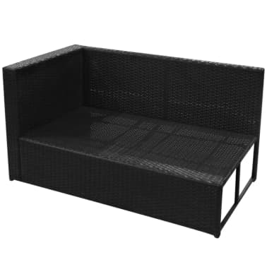 vidaXL 8-daļīgs dārza atpūtas mēbeļu komplekts ar matračiem, PE, melns[10/13]