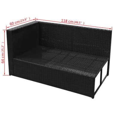 vidaXL 8-daļīgs dārza atpūtas mēbeļu komplekts ar matračiem, PE, melns[11/13]