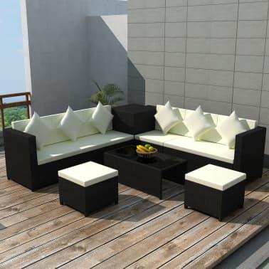 vidaXL 8-daļīgs dārza atpūtas mēbeļu komplekts ar matračiem, PE, melns[1/13]