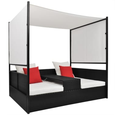vidaXL Double Day Bed with Canopy Poly Rattan Black[1/7]