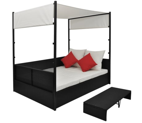 vidaXL Double Day Bed with Canopy Poly Rattan Black[2/7]