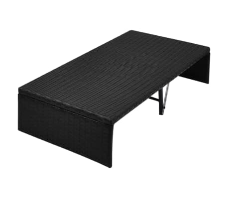 vidaXL Double Day Bed with Canopy Poly Rattan Black[6/7]