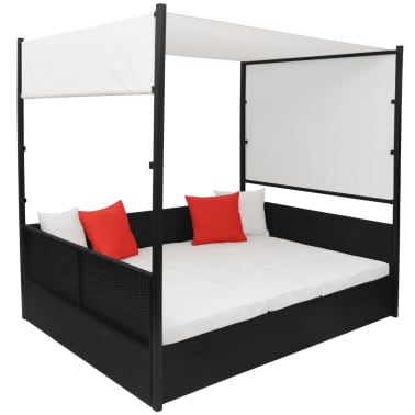 vidaXL Double Day Bed with Canopy Poly Rattan Black[3/7]