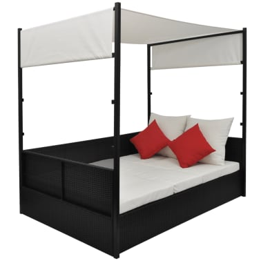 vidaXL Double Day Bed with Canopy Poly Rattan Black[4/7]