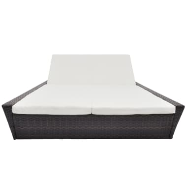 vidaXL Outdoor Lounge Bed with Cushion Poly Rattan Brown[2/8]