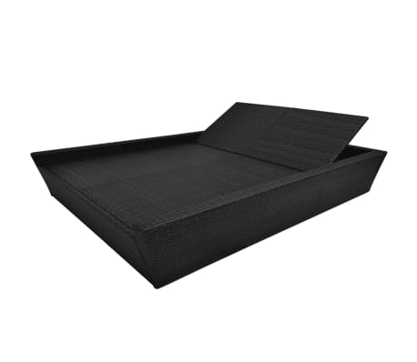 vidaXL Outdoor Lounge Bed with Cushion Poly Rattan Black[5/8]