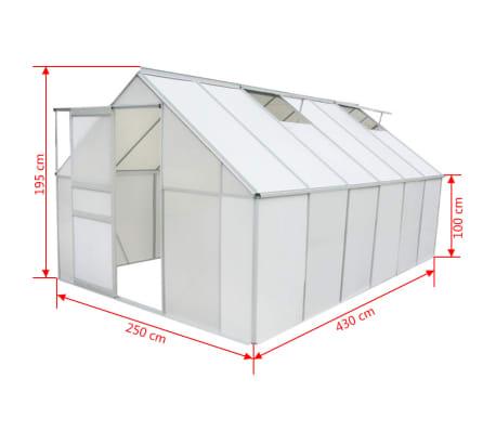 vidaXL Skleník, polykarbonát a hliník, 430x250x195 cm[5/6]