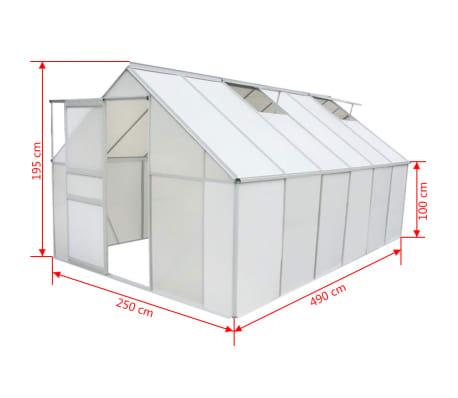vidaXL Drivhus polykarbonat og aluminium 490x250x195 cm[5/6]