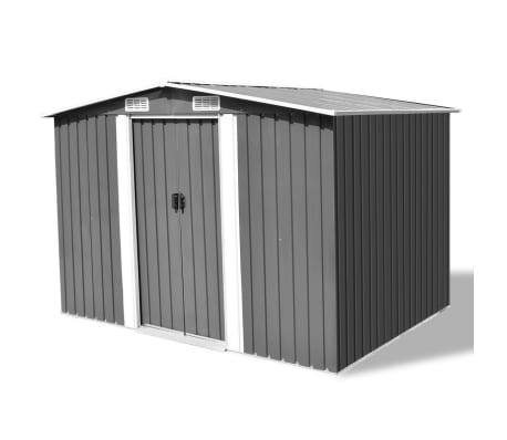 vidaXL Garden Storage Shed Grey Metal 257x205x178 cm