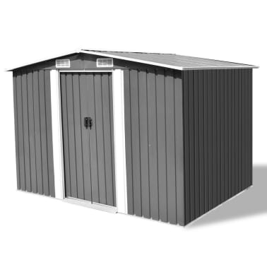 vidaXL Garden Storage Shed Grey Metal 257x205x178 cm[1/8]