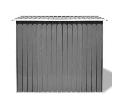 vidaXL Garden Storage Shed Grey Metal 257x205x178 cm[3/8]