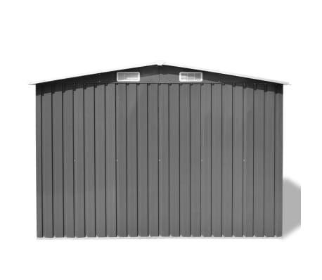vidaXL Garden Storage Shed Grey Metal 257x205x178 cm[4/8]