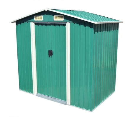 vidaXL Garden Storage Shed Green Metal 204x132x186 cm