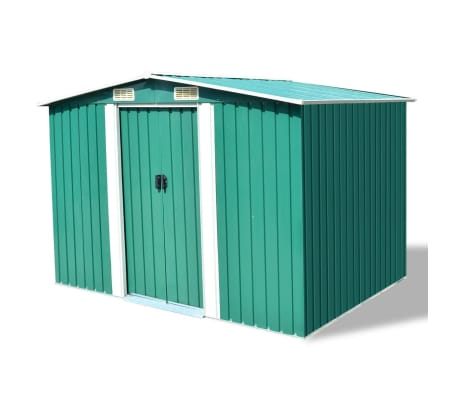 "vidaXL Garden Storage Shed Green Metal 101.2""x80.7""x70.1"""