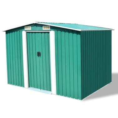 vidaXL Garden Storage Shed Green Metal 257x205x178 cm[1/8]