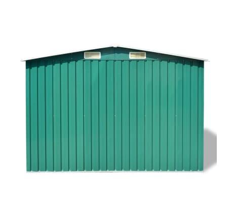 vidaXL Garden Storage Shed Green Metal 257x205x178 cm[4/8]