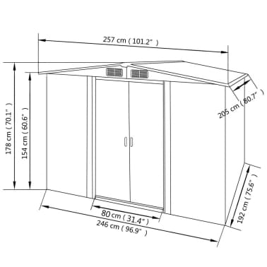 vidaXL Garden Storage Shed Green Metal 257x205x178 cm[8/8]