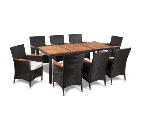 Vidaxl Outdoor Dining Set 17 Pieces Poly Rattan Acacia Table Top