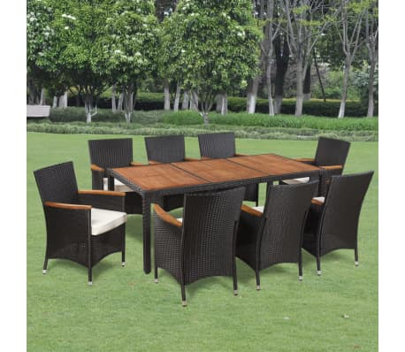 vidaxl garten essgruppe 17 tlg poly rattan akazienholz. Black Bedroom Furniture Sets. Home Design Ideas