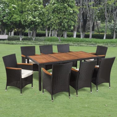 vidaXL Outdoor Dining Set 17 Piece Poly Rattan Acacia Table Top[1/8]