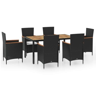 vidaXL 7 Piece Outdoor Dining Set with Cushions Poly Rattan[2/8]
