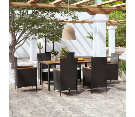 This rattan dining set has an elegant design and consists of a table 6 chairs and 6 removable seat cushions. Our rattan garden furniture set will be the ... & vidaXL Garden Dining Set 13 Piece Acacia Poly Rattan Wicker Outdoor ...