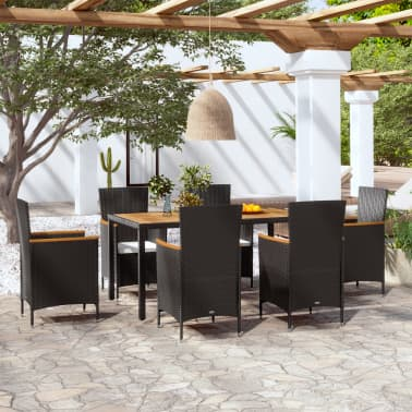 vidaXL 7 Piece Outdoor Dining Set with Cushions Poly Rattan[1/8]