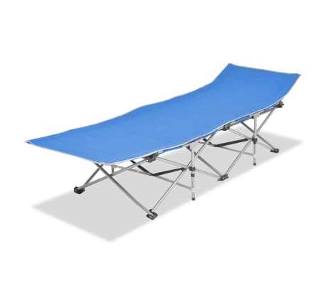 vidaXL Folding Sun Lounger Steel Blue[1/7]