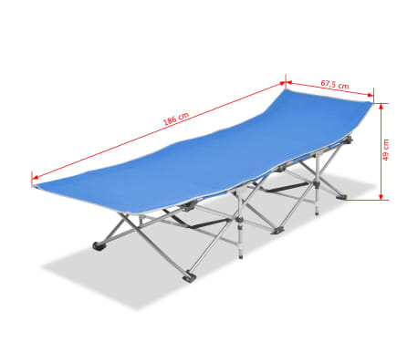 vidaXL Folding Sun Lounger Steel Blue[7/7]