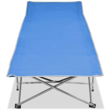 vidaXL Folding Sun Lounger Steel Blue[2/7]