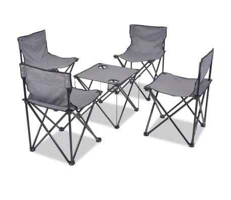 acheter vidaxl mobilier de camping pliant 5 pcs acier gris 45 x 45 x 70 cm pas cher. Black Bedroom Furniture Sets. Home Design Ideas