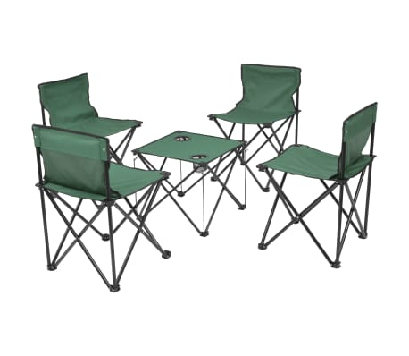 vidaXL Folding Camping Furniture Set 5 Pieces Green Steel 45x45x70 cm[1/10]