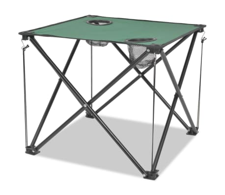vidaXL Folding Camping Furniture Set 5 Pieces Green Steel 45x45x70 cm[2/10]