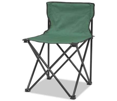 vidaXL Folding Camping Furniture Set 5 Pieces Green Steel 45x45x70 cm[3/10]