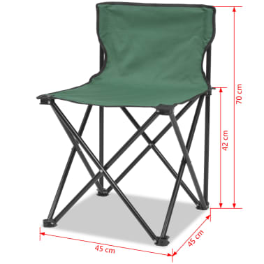 vidaXL Folding Camping Furniture Set 5 Pieces Green Steel 45x45x70 cm[10/10]