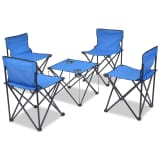 vidaXL Folding Camping Furniture Set 5 Pieces Blue Steel 45x45x70 cm