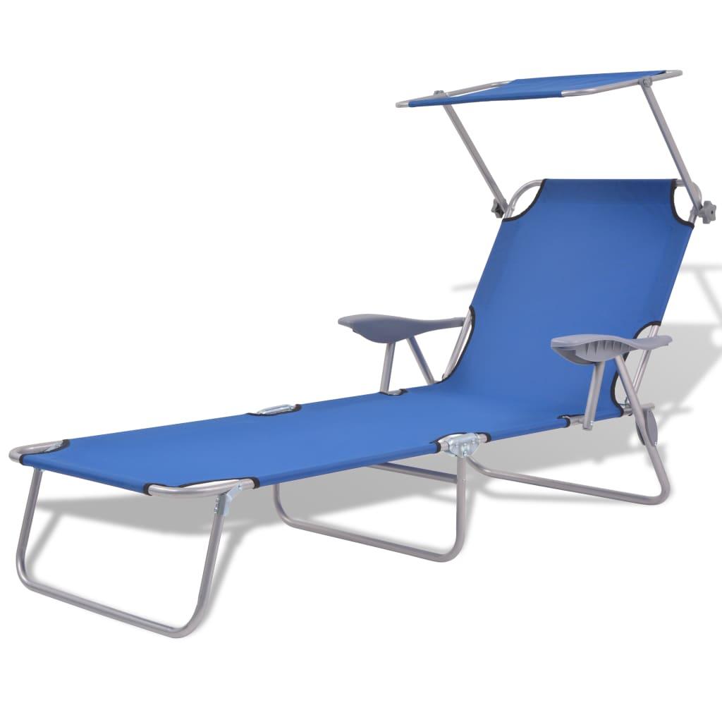 vidaXL Chaise longue avec auvent Acier Bleu