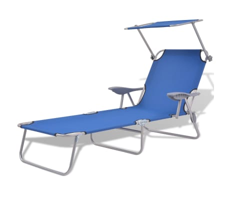 vidaXL Șezlong de plajă cu baldachin, albastru, oțel